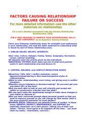 Factors Causing Relationship Failure or Success.doc